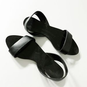 Zara black slip on summer sandals